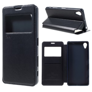 ROAR KOREA Card Holder Leather Stand Case for Sony Xperia X - Dark Blue