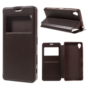 ROAR KOREA View Window Magnetic Leather Phone Case for Sony Xperia X - Brown