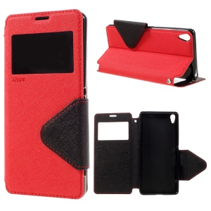 ROAR KOREA View Window Stand Leather Shell for Sony Xperia XA / XA Dual - Red