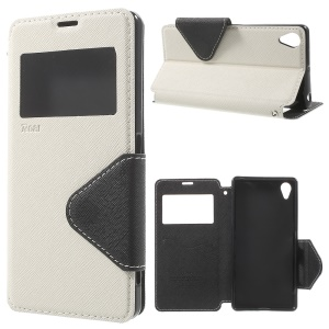 ROAR KOREA for Sony Xperia X View Window Stand Leather Cover - White