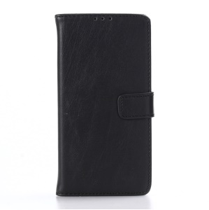 Retro Crazy Horse Leather Wallet Stand Case for Sony Xperia E5 - Black