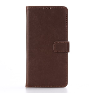 Retro Crazy Horse Leather Wallet Stand Shell for Sony Xperia E5 - Coffee