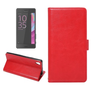 Flip Leather Card Holder Stand Shell for Sony Xperia X - Red