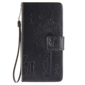 Dandelion and Lovers Wallet Leather Stand Case for Sony Xperia XA / XA Dual - Black