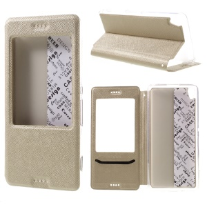 Cross Texture View Window Leather Flip Shell for Sony Xperia XA/XA Dual - Gold