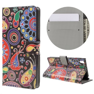 Patterned Leather Wallet Case for Sony Xperia E5 - Paisley Pattern