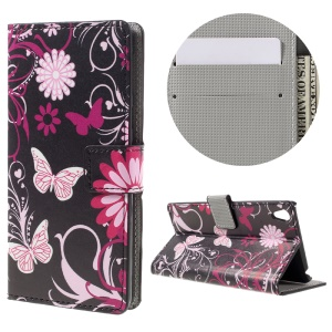 Patterned Leather Wallet Stand Case for Sony Xperia E5 - Butterfly and Flower