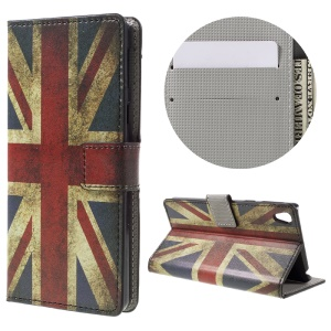 Patterned Leather Wallet Flip Case for Sony Xperia E5 - Union Jack