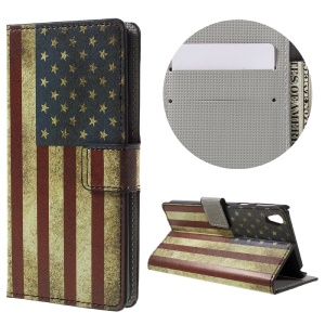 Patterned Leather Card Holder Shell for Sony Xperia E5 - Retro US Flag