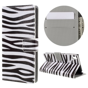 Patterned Leather Wallet Cover for Sony Xperia E5 - Zebra Grain
