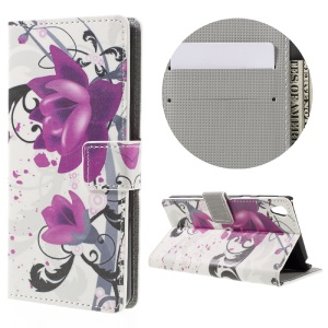 Patterned Leather Wallet Protective Case for Sony Xperia E5 - Purple Flower