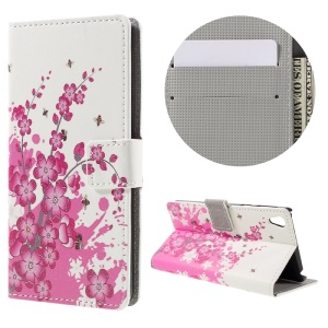 Patterned Leather Card Slot Case for Sony Xperia E5 - Plum Blossom