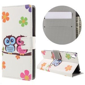 Patterned Leather Wallet Case for Sony Xperia E5 - Owl Couple