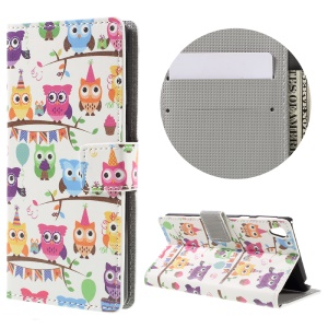 Patterned Leather Wallet Case for Sony Xperia E5 - Owl Family