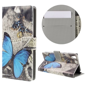 Patterned Leather Wallet Case for Sony Xperia E5 - Blue Butterfly