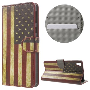 Leather Wallet Stand Shell for Sony Xperia E5 - US Flag