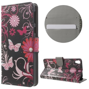 Leather Card Holder Stand Case for Sony Xperia E5 - Butterfly and Flower