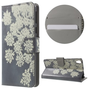 Leather Wallet Stand Phone Case for Sony Xperia E5 - White Flower