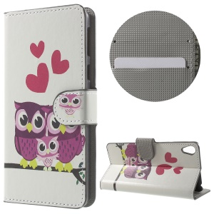 Leather Wallet Stand Case for Sony Xperia E5 - Owl Family