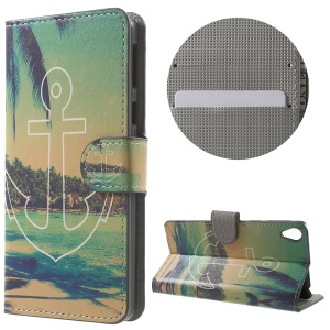 Leather Wallet Stand Protective Case for Sony Xperia E5 - Anchor and Sea