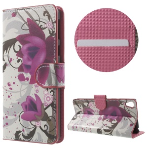 Leather Wallet Stand Case for Sony Xperia E5 - Purple Flower
