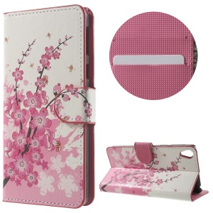 Leather Wallet Stand Case for Sony Xperia E5 - Plum Blossom