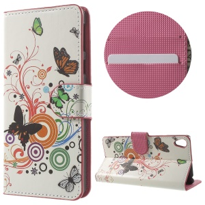 Leather Wallet Stand Case for Sony Xperia E5 - Butterfly and Circle