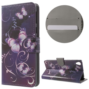 Leather Wallet Stand Case for Sony Xperia E5 - Purple Butterfly
