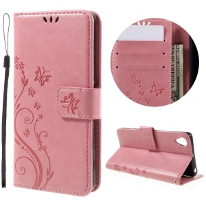 Butterfly Imprinted Leather Wallet Case Cover for Sony Xperia X Performance - Pink
