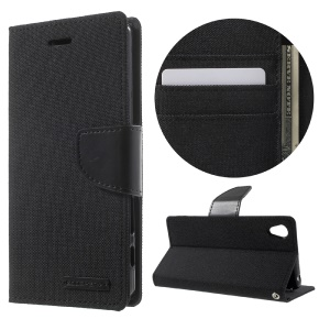 MERCURY GOOSPERY Canvas Leather Case for Sony Xperia X - Black