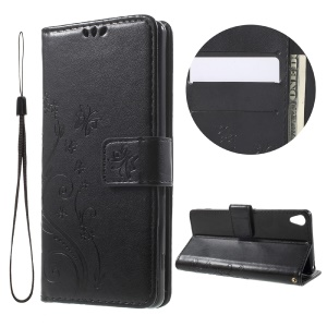 Imprint Butterfly Wallet Stand Leather Case for Sony Xperia XA / XA Dual - Black