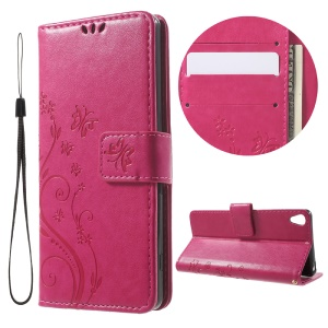 Imprint Butterfly Wallet Stand Leather Shell for Sony Xperia XA / XA Dual - Rose