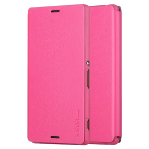 X-LEVEL Slim Folio Leather Stand Cover Case for Sony Xperia Z3 D6603 D6643 D6653 D6616 - Rose