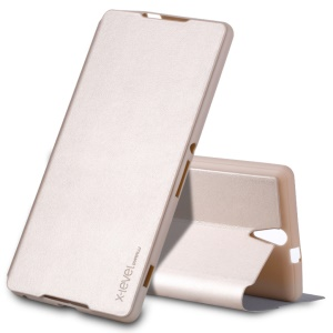 X-LEVEL Slim Folio Leather Stand Case Cover for Sony Xperia C5 Ultra / Dual - Gold