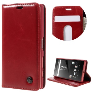 CASEME Oil Wax Crazy Horse Leather Wallet Case Cover for Sony Xperia Z5 Compact - Red