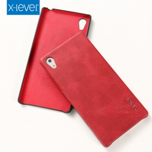 X-LEVEL Vintage Series Leather Skin Hard Cover for Sony Xperia Z5 / Z5 Dual - Red