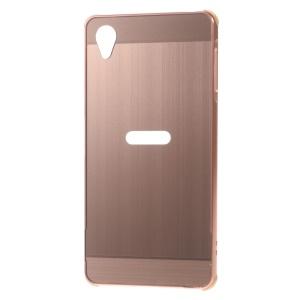 Sliding Metal Bumper Brushed Plastic Cover for Sony Xperia X - Rose Gold