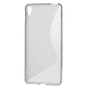 S-line Pattern Gel TPU Phone Cover for Sony Xperia E5 - Grey