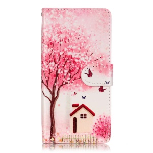 Patterned Leather Cover for Sony Xperia XA/XA Dual - Flower Tree Butterfly House
