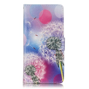 Patterned PU Leather Flip Case for Sony Xperia XA/XA Dual - Dandelions and Circles