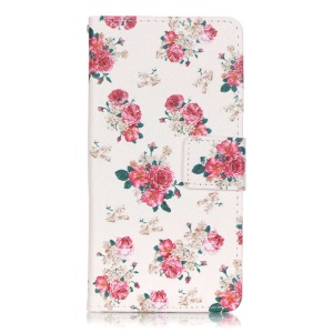 Patterned Leather Wallet Card Slot Cover for Sony Xperia XA/XA Dual - Pretty Peonies