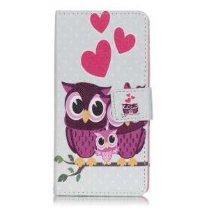Patterned Flip Leather Stand Case for Sony Xperia XA/XA Dual - Sweet Owl Family