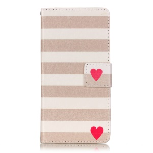Leather Stand Card Slot Cover for Sony Xperia XA/XA Dual - Red Heart and Stripes