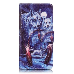 Patterned Leather Case Cover for Sony Xperia XA/XA Dual - Wolves and Dream Catcher