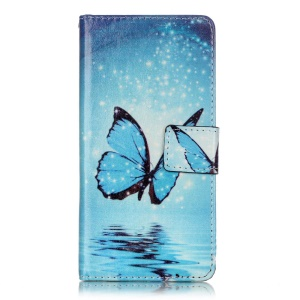 Leather Wallet Stand Case for Sony Xperia XA/XA Dual - Blue Butterfly Shiny Stars
