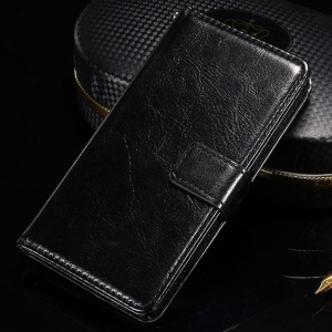 Crazy Horse Smooth Leather Wallet Case for Sony Xperia Z3 Compact D5803 D5833 M55w - Black