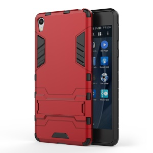 2-in-1 Plastic + TPU Shell with Kickstand for Sony Xperia E5 - Red