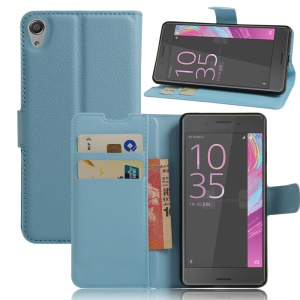Litchi Grain Wallet Leather Phone Case for Sony Xperia E5 - Blue