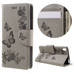 Imprint Butterfly Flower Leather Wallet Cover for Sony Xperia E5 - Grey