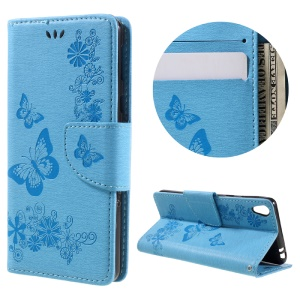 Imprint Butterfly Flower Flip Leather Case with Card Slots for Sony Xperia E5 - Blue